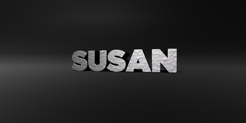 SUSAN - hammered metal finish text on black studio - 3D rendered royalty free stock photo. This image can be used for an online website banner ad or a print postcard.