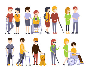 Physically Handicapped People Receiving Help And Support From Their Friends And Family, Enjoying Full Life With Disability Set Of Illustrations With Smiling Disabled Men And Women