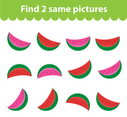 Children's educational game. Find two same pictures. Set of watermelon, for the game find two same pictures. Vector illustration.