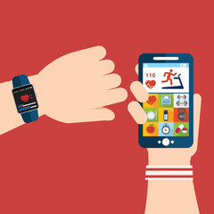 Vector running app on the screen of mobile phone and smartwatch. Modern technology equipment for monitoring the health