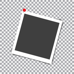 Retro photo frame with shadow on red pin on a transparent background