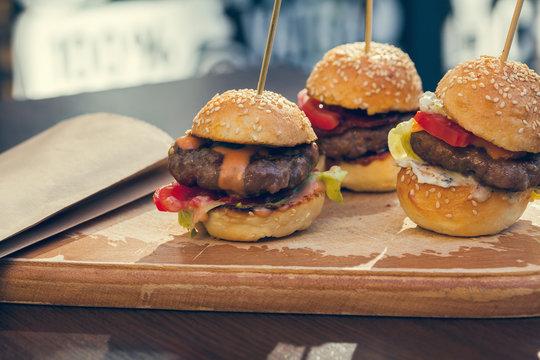 Three Mini Burgers Sliders