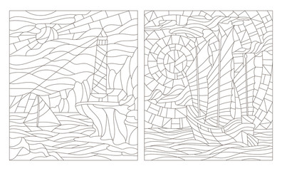 Set contour illustrations of seascapes, dark outline on a white background