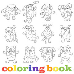 Illustration with set of contour funny dogs, coloring book