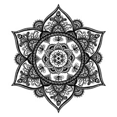 Bohemian Indian Mandala print. Vintage Henna tattoo style Indian medallion. Ethnic ornament could be used as shirt print, phone case print, textile, coloring book. Christmas holiday snowflake