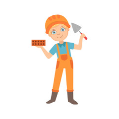 Boy Holding A Palette Knife And A Brick, Kid Dressed As Builder On The Construction Site Future Dream Profession Set Illustration