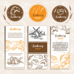card templates hand drawn sketch illustration bakery