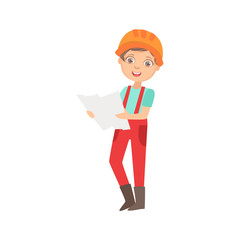 Boy Studying A Construction Plan, Kid Dressed As Builder On The Construction Site Future Dream Profession Set Illustration