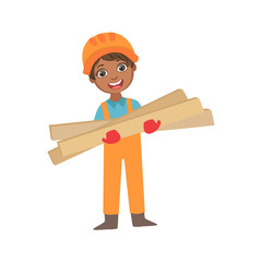 Boy In Working Gloves Holdig Boards Of Wood, Kid Dressed As Builder On The Construction Site Future Dream Profession Set Illustration