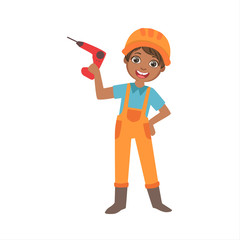 Boy Holding Electric Drill, Kid Dressed As Builder On The Construction Site Future Dream Profession Set Illustration