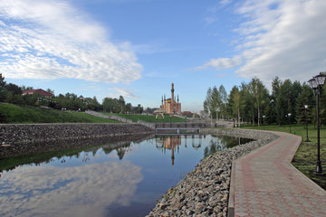 Poster Channel Landscaped area near a mosque Almetyevsk