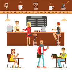 Interior Design And Happy Clients Of A Coffee Shop Set Of Illustrations