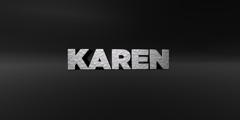 KAREN - hammered metal finish text on black studio - 3D rendered royalty free stock photo. This image can be used for an online website banner ad or a print postcard.