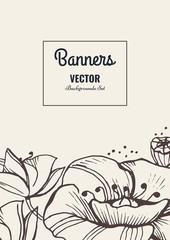 Creative template card. Hand drawn vintage element. Vector banner for card, poster, invitation, flyer, party, wedding, brochure Flower design collection