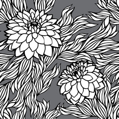 Vector seamless floral pattern black and white monochrome