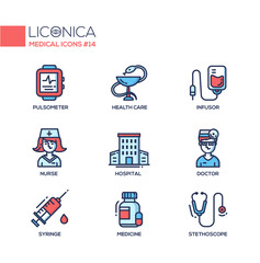 Medicine - thin line design icons, pictograms
