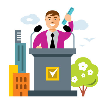 Vector Tribune speaker. Flat style colorful Cartoon illustration