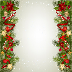 Christmas background with fir branch border and decoration