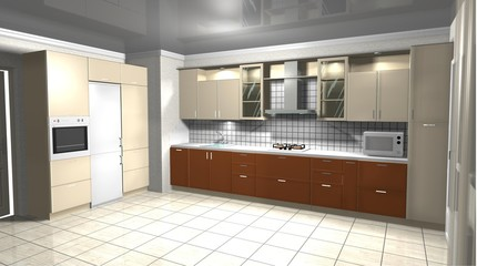 interior design of modern kitchen 3D rendering