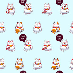 Vector background with maneki neko, seamless pattern with beckoning cats