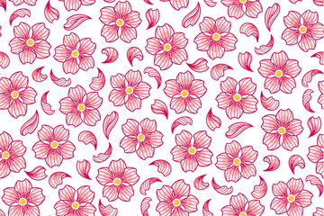 Vector background with cherry flowers, seamless pattern