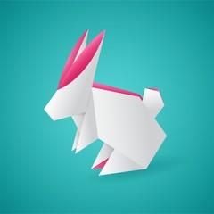 white origami hare