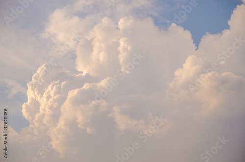volumetric clouds at sunset