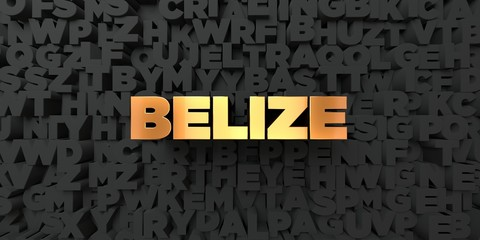 Belize - Gold text on black background - 3D rendered royalty free stock picture. This image can be used for an online website banner ad or a print postcard.