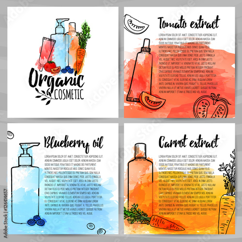 Square Design Template Of Brochures About Organic Cosmetic Booklet