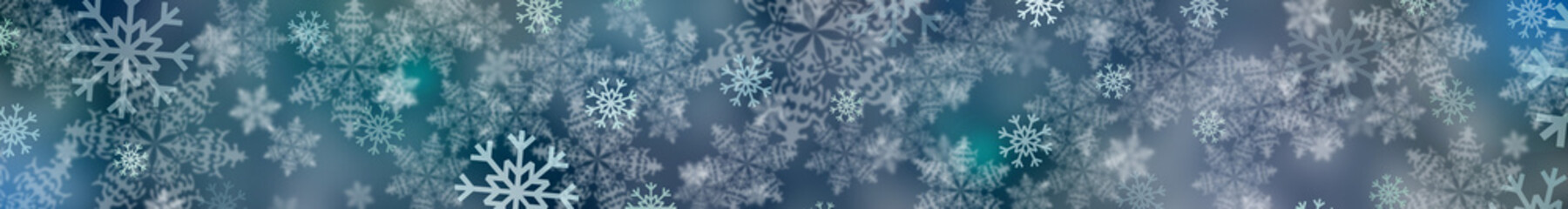 Snow background. Panorama snowflakes.