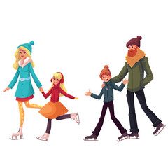 Happy family of father, mother, sister and son ice skating together, cartoon vector illustrations isolated on white background. Happy, cheerful cartoon style family skating, winter activity