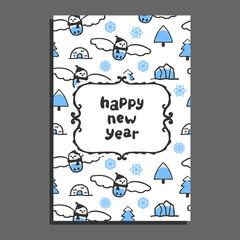 Happy new year card template with cute cartoon snowy owl. Vector doodle icebergs. Arctic bird wears scarf
