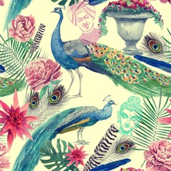 Seamless watercolor pattern with peacocks. Hand drawn .