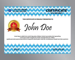 editable blue zig zag certificate