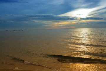 Sunrise  Sea water and beach and sky. Cold Warm Filter look Colorful