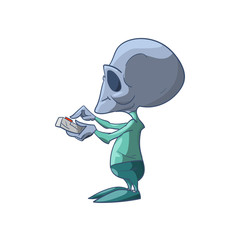 Colorful vector illustration of a cartoon grey Alien