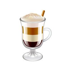 Latte layered coffee drink isolated vector