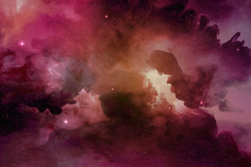 purple-red nebula and cosmic dust in outer space