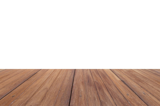 blank wood table top with white background