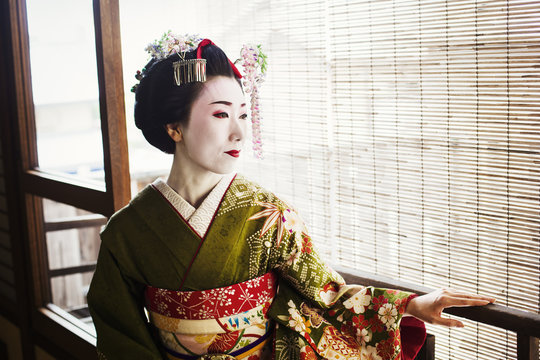 A woman dressed in the traditional geisha style, wearing a kimono and obi, with an elaborate hairstyle and floral hair clips, with white face makeup with bright red lips and dark eyes.