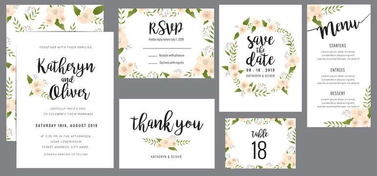 Set of wedding suite template decorate with wreath flowers. Save the date, wedding invitation, wedding menu, thank you card. Vector illustration.