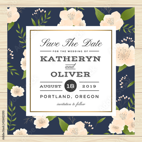 Vintage Save The Date Wedding Invitation Card With Flower Pattern