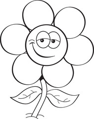 Black and white illustration of a smiling flower.