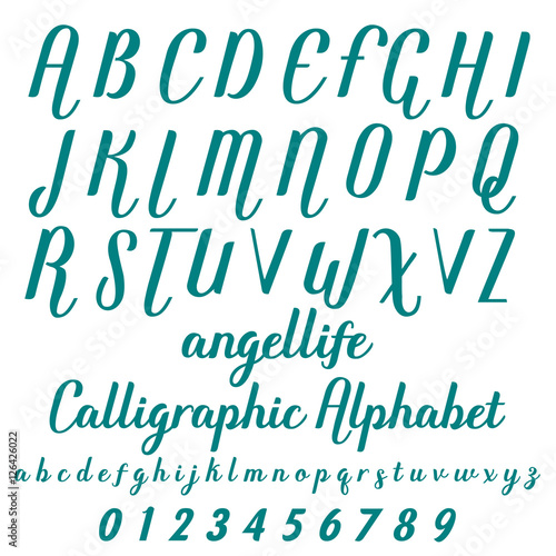 Calligraphic alphabet  Vector numbers  Font, Typeface, Script, Old