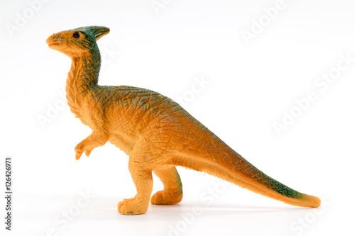 Parasaurolophus dinosaur toy model on white background
