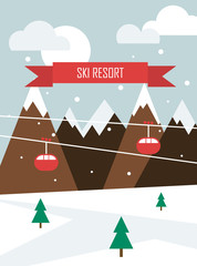 Winter landscape. Christmas background with mountains, funicular and inscription Sky Resort. Flat design. Vector illustration.