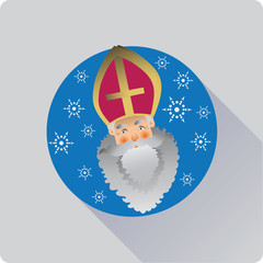 Saint Nicolas. Icon.  Flat design. Vector image of a flat icon.