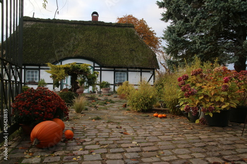 bauernhaus in schleswig holstein mit gepflegtem garten und herbstlicher dekoration stock photo. Black Bedroom Furniture Sets. Home Design Ideas