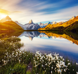 Wall Mural - Great view of Bachalpsee lake. Location place Swiss alps, Bernes