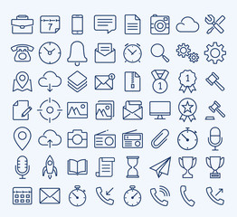 Universal Web thin line icon set